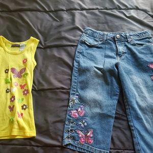 girl 14 denim capri, stitched design on leg & tank